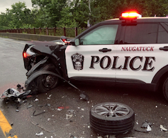 wounded cop car